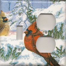 Winter Cardinals - Double Combo Switch & Outlet