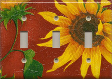 Sunflowers - Red - Triple Switch