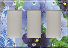 Purple Pansies with Plate - Triple GFI/Rocker