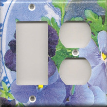 Purple Pansies with Plate - Double Combo GFI & Outlet