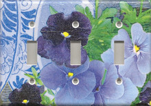Purple Pansies with Plate - Triple Switch