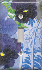 Purple Pansies with Plate - Single Switch