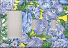 Blue & Yellow Flowers - Triple Combo GFI & Switch & Switch