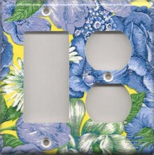 Blue & Yellow Flowers - Double Combo GFI & Outlet