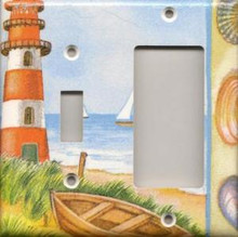 Red Lighthouse with Boats - Double Combo Switch & GFI
