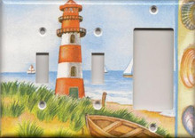 Red Lighthouse with Boats - Triple Combo Switch & Switch & GFI