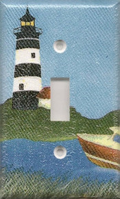 Black Lighthouse with Boat - Single Switch