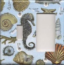 Seahorse and Shells - Double Combo Switch & GFI