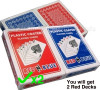 2 Decks Plastic Coated Poker Texas Holdem Playing Cards (Red N Blue brand)