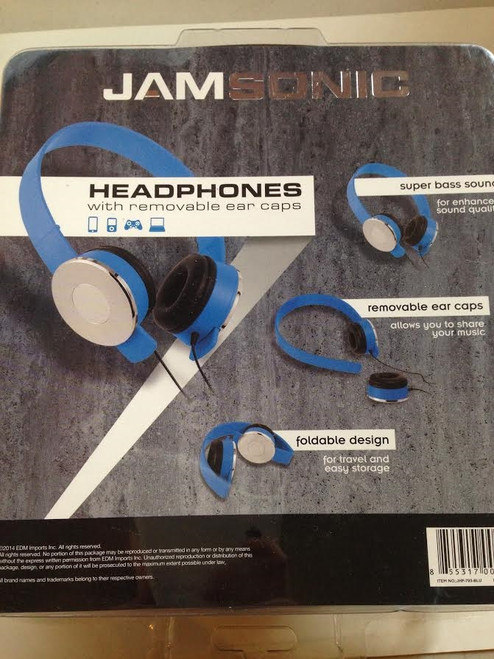 Jamsonic Blue Headphones with Removable Ear Caps