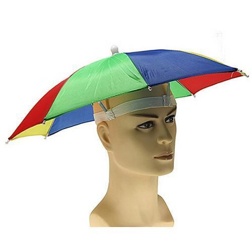 Multicolor Hands Free Rain & Sun Fun Umbrella Hat (Red-Blue-Green-Yellow) (RBGY)