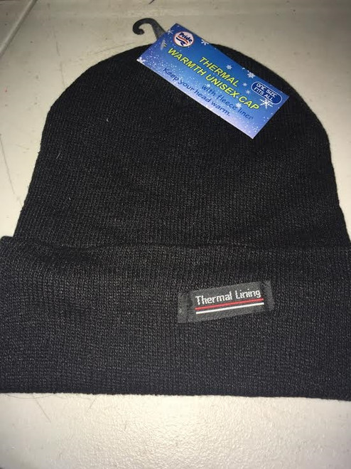 Ladies/ Men Unisex Thermal Liner beanie Black