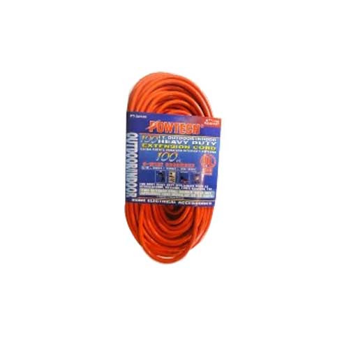 Orange 100 Foot Indoor/Outdoor Heavy Duty Extension Cord - 100 Feet