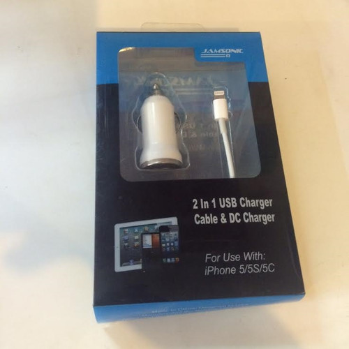 Jamsonic 2in1 usb charger cable and dc charger for iphone 5/5s/5c