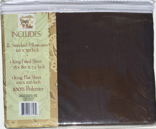 Chocolate / Beautiful, Soft, Comfortable King Size 4-Piece Sheet Set (1 Fitted Sheet, 1 Flat Sheet, 2 standard size pillow cases)