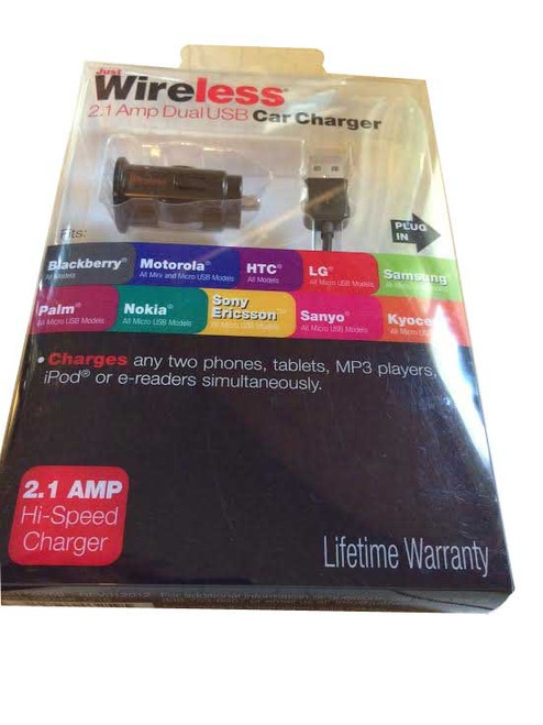 Just Wireless 2.1AMP Dual USB Car Charger all Micro usb models