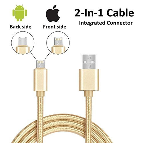 6ft 2in1 Gold Braided Heavy Duty iphone Apple iOS No Errors Certified /Android USB Cable for:  iphone 5, 5s,5c,6,6Plus,6s, 6s Plus, 6se,7,7 plus, 8, 8plus, X,ipad w/retina display, ipad Micro / Android Micro-usb / Samsun