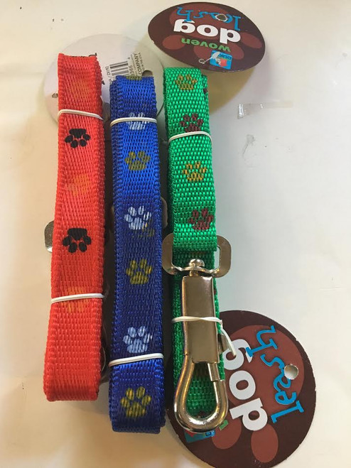 (Choose Color) 4ft  Woven dog Leash Paw Print Design