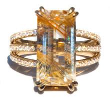 Rutilated Topaz & Diamond Ring