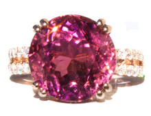 Pink Tourmaline & Diamond 18k Gold Ring