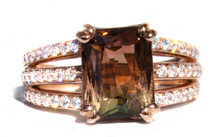 Peach, Yellow, and Green Tourmaline & Diamond 18k Ring