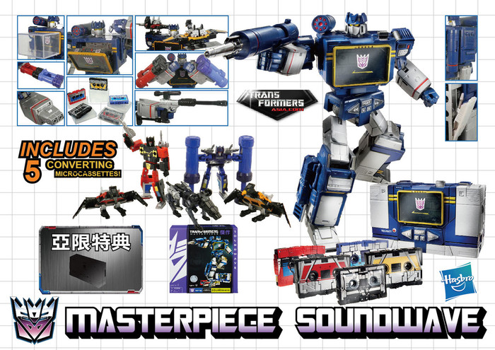Hasbro Masterpiece Soundwave with 5 Cassettes (Reissue)