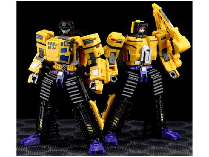 Maketoys - MTCombiner - Yellow Giant - Set of Bulldozer & Excavator