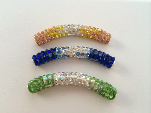 Curved Spacers Tube Silver and Blue/Green/Yellow
