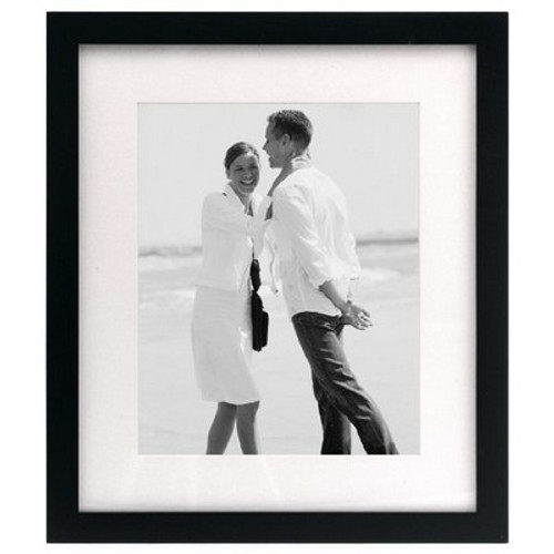 Malden Linear Wood Matted 5x7 Black Picture Frame