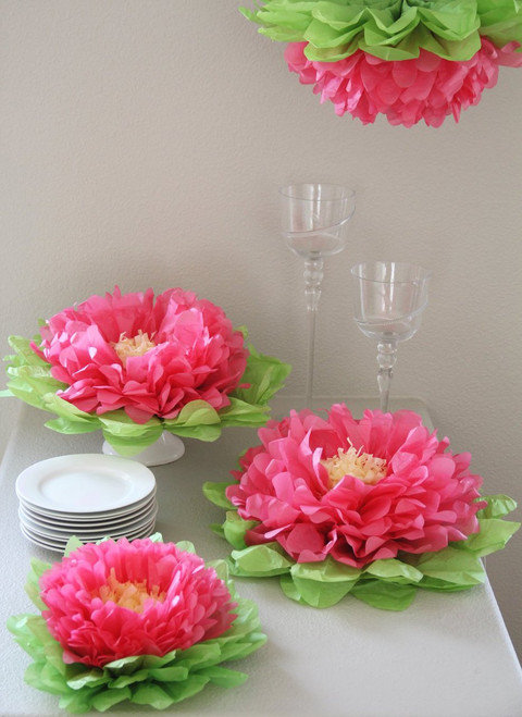 Set of 7 Melon Pink Tissue Paper Flowers