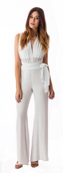 Deep V Jumpsuit-White
