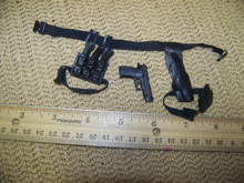 Miniature 1/6 M9 Pistol, Holster, pistol Clip Pouch, Belt & MP5 Clip Pouch