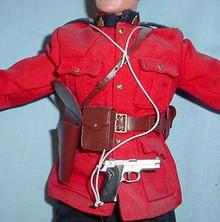 Miniature 1/6th Scale Chrome Pistol, Holster, Belt & More