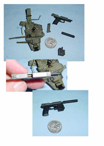 Miniature 1/6th Scale H&K USP Mk23 CAL .45 Pistol w/Silencer & Woodland Holster