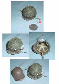 Miniature 1/6th Scale WWII US Netted Helmet w/Cigaretts