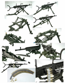 Miniature 1/6th Scale German WWII MG-37 Metal Machine Gun W/Stand & Ammp Strip