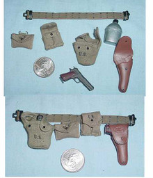 Miniature 1/6th Scale US WWII Belt, 45, Holster & More