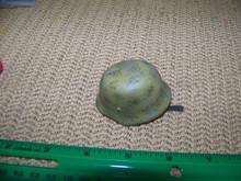 Copy of Miniature 1/6th Scale WWII German Steel Helmet Afrika Korp Camoed
