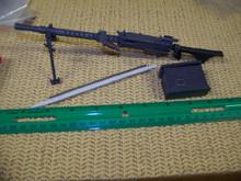 Miniature 1/6th Scale 1916 Machine Gun w/Bi-pod< Box & Stripe