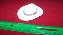 1:6th Scale White Cowboy Hat w/Snake Print Hat Band