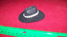 1:6th Scale Black Cowboy Hat w/White Hat Band