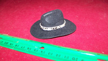 1:6th Scale Black Cowboy Hat w/Snake Print Hat Band