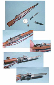 Miniature 1/6th Scale WWII US M1 Garand w/Bayonet & Sheath