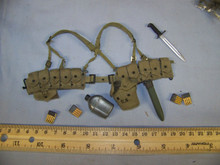 Miniature 1/6th Scale US WWII Cloth M1936 Cartridge Belt & More