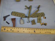 Miniature 1/6th Scale US WW2 Cloth M1936 Cartridge Belt, 45 Pistol w/Holster & More