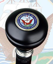 U.S. Navy Knob Handle w/Pewter Collar Walking Stick R3604b