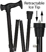ICE CANE Black Adjustable FOLDING Orthopedic Handle W/Retractable Ice tip RC-80147