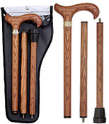Genuine Oak 3-Piece Folding Walking Cane RC-80676