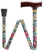 Fritz Style Handle Adjustable Folding Walking Cane - Night Flowers HS-9052514