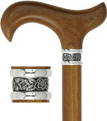 Imported Afromosia Wood Derby Walking Cane w/Pewter Collar  R80797